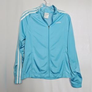 Adidas Teal White Stripe Mesh Lined Track Jacket L